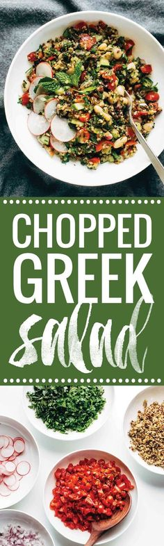 Chopped Greek Salad - clean eating with TONS of flavor! cucumbers, tomato, red onion, mint, parsley, quinoa, and a lemon olive oil drizzle! vegan, vegetarian. | pinchofyum.com