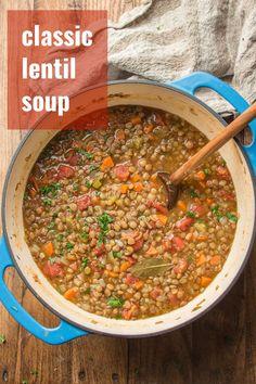 Vegetarian Lentil Soup, Curried Lentil Soup, Lentil Soup Recipes, Vegan Dinner Recipes, Healthy Soup Recipes, Whole Food Recipes, Vegetarian Recipes, Cooking Recipes, Healthy Lentil Soup