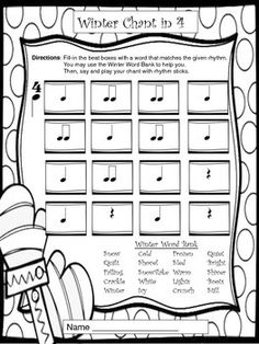 WINTER WORKSHEETS FOR MUSIC CLASS, SUB PLANS, AND CENTERS - TeachersPayTeachers.com