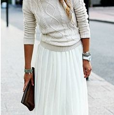 Beige sweater with white maxi skirt