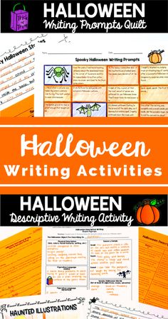 Fun and challenging Halloween writing activities for your elementary and middle school students! Includes a descriptive writing activity and a Halloween writing quilt where students choose spooky sentence starters to write their own spooky narratives!