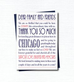 Its customizable!  Welcome Thank You Card  - PDF Printable - Chicago Navy & Coral