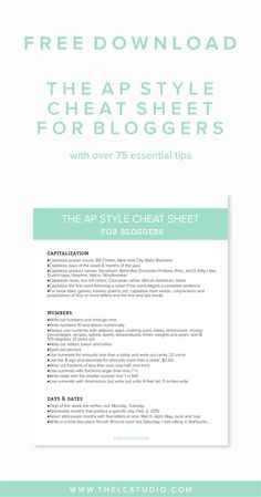 The AP Style Cheat Sheet for Bloggers (Free Download!) | The LC Studio