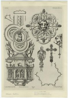 Door Handle & Processional Cross, Cathedral At Osnabruck, Germany. From New York Public Library Digital Collections. Mural Painting, New York Public Library, Compass Tattoo, Geometry, Door Handles, Cathedral, Summer Snow, Vintage World Maps, Gothic