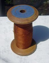 Vintage Industrial Wooden Sewing  Spool With Brown Thread Remaining