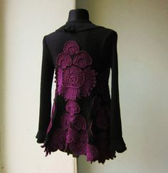 Black and Purple Crochet Sweater Cardigan Extravagant by MARTINELI