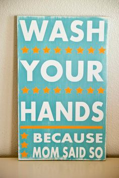 Wash Your Hands Typography Bathroom Sign by WordWhipped on Etsy, $55.00