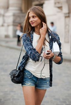 Plaid, graphic tank or tee, jean shorts