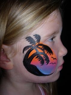 Sunset/Palm Trees- Smiley Faces by Jo