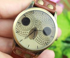 Brown leather bracelet watch cute owl watch  handmade women's wrist watch vintage style men's leather watch unisex watch B954