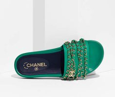 Mules, fabric-green - CHANEL