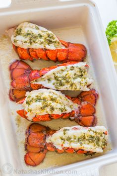 The ONLY Lobster Tails Recipe you'll need! Broiled lobster tails are juicy, flavorful, and quick to make! + How-To butterfly lobster tails photo tutorial! Baked Lobster Tails, Broiled Lobster Tails Recipe, Broil Lobster Tail, Best Lobster Tail Recipe, Lobster Recipes, Seafood Recipes, Cooking Recipes, Vegetarian Recipes, Cooking Frozen Lobster Tails