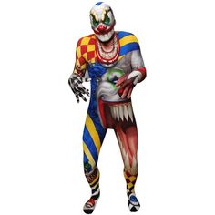 Monster Collection - Adult Creepy Clown Morphsuit (65 AUD) ❤ liked on Polyvore featuring costumes, clown, halloween costumes, monster costume, circus clown costume, adult clown costumes, clown halloween costume and adult halloween costumes