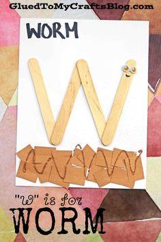 """W"" is for Worm - Kid Craft Idea Preschool Letter Crafts, Alphabet Letter Crafts, Abc Crafts, Preschool Learning, Craft Stick Crafts, Preschool Activities, Crafts For Kids, Craft Ideas, Craft Sticks"
