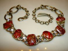 Fabulous  ... Vintage Schiaparelli Art Glass Red Stone White Rhinestone Necklace