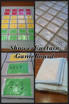 Shower curtain giant game board - great for revision, sight word & math facts practice! Math Board Games, Classroom Games, Game Boards, Classroom Ideas, Classroom Management, Games 4 Kids, Math Fact Practice, Math Night, Quick Games