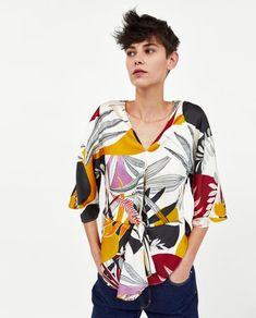 99329f41664df Image 2 of PRINTED BLOUSE WITH KNOT from Zara Blouse Imprimée