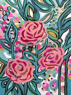 """""""Late Bloom"""" by Cozamia Art, Canada // Bright pink flowers are layered over bold stems in shades of teal. Derived from an acrylic painting. // Imagekind.com -- Buy stunning fine art prints, framed prints and canvas prints directly from independent working artists and photographers."""
