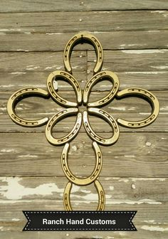 Horseshoe Butterfly Cross large gold by Ranchhandcustoms on Etsy