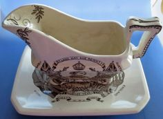 Queen Victoria  Jubilee Pottery Gravy Jug and Saucer Antique Royal Commemorative
