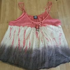 Free People Beaded Tank Sz S Free People dye effect beaded flowy tank,  size small. Gently worn but great condition overall! Free People Tops Tank Tops