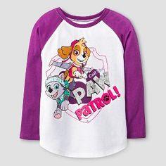 PAW Patrol Toddler Girls' Raglan T-Shirt - White