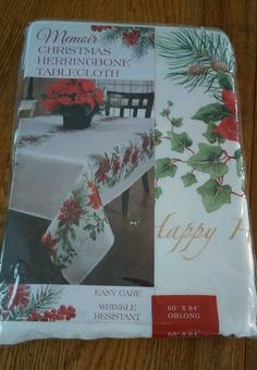 Christmas Memoir Tablecloth Poinsettia and Wording Benson Mills 60 x 84 Oblong…