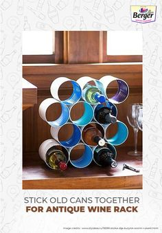 Are you a wine lover? If so, you'll definitely love this idea of converting old tin cans into a perfect rack for storing wine bottles to complement your living room.