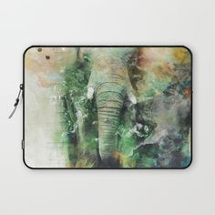 Watercolor Elephant Laptop Sleeve #elephant #animals #africa #wildlife #wild #green #yellow #splash #digitalart #society6 @Society6 #watercolor