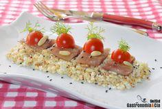 Cuscús de coliflor con sardina ahumada y piñones