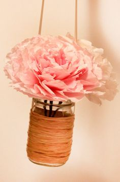 mason jars with peonies (real or made from tissue paper) - if they're hanging high up, no one will know the difference!