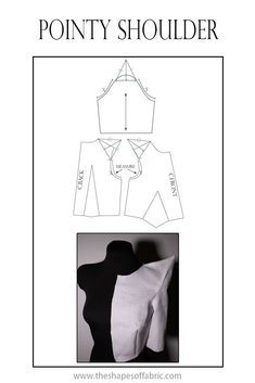 Here's how you can create a pointy shoulder by modifying the shoulder line and sleeve cap. Click through for other sculptural sleeve patterns. Coat Patterns, Dress Sewing Patterns, Clothing Patterns, Sleeves Designs For Dresses, Sleeve Designs, Pattern Cutting, Pattern Making, Sewing Pants, Pattern Drafting