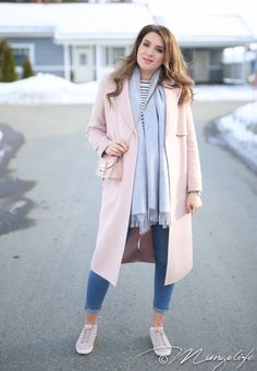 Blush trench w/ matching shoes & bag, concrete fringe scarf, cuffed blue fitted denims, pink smile