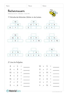 "NEW: A free math worksheet on the topic ""Computing walls with 3 building blocks . Free Math Worksheets, School Worksheets, Math 2, Arithmetic, Classroom Fun, Math Activities, Mathematics, Elementary Schools, Back To School"