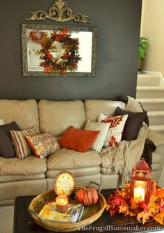 Fall decorating ideas  I have a mirror in my living room that a fall wreathAdventures in Decorating  Our Fall Kitchen     Home Decor  . Fall Living Room Decor. Home Design Ideas