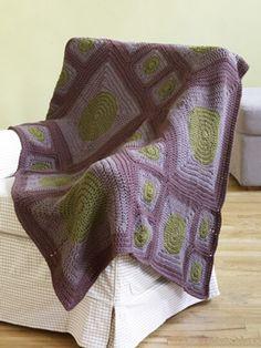 Free Crochet Pattern 70408B Circles To Squares Afghan : Lion Brand Yarn Company