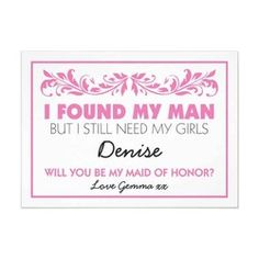 Will you be my maid of honor card with a pretty pink floral design! #wedding