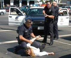 The Los Angeles Police Department arresting a suspect!