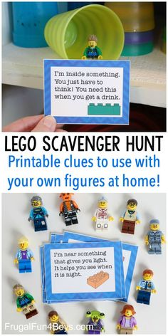 LEGO Scavenger Hunt with Printable Clue Cards Go on a LEGO scavenger hunt! Print clue cards that can work for any family and home, and then choose your own LEGO minifigures to hide. So much fun! Lego Activities, Indoor Activities, Preschool Activities, Family Activities, Indoor Games, Fun Activities For Kids, Lego Projects, Projects For Kids, Crafts For Kids