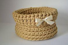 Gold basket/ rope crochet/ storage basket/ home decor by iKNITSTORE on Etsy Crochet Storage, Storage Baskets, Gold, Leather, Etsy, Jewelry, Home Decor, Jewels, Schmuck
