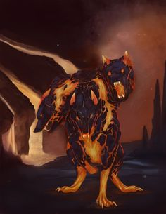 Kerberos guarding the entrance to the underworld. Do you have the special weapon to defeat it?