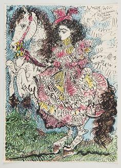Pablo Picasso - Toros y toreros. Dama a caballo, 1959
