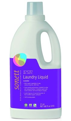 www.peridotplace.com Sonett laundry washing liquid made from organic and natural ingredients. For all coloureds and whites, suitable for washing from 30-95 degrees. Ideal for sensitive skin and allergies. Made with organic vegetable oil soap, without enzymes and GMO free - lovely fragrance of organic lavender essential oil