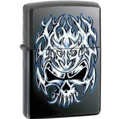 Flaming Chrome Skull Licorice Matte Zippo Lighter by Zippo. $34.95. Flaming Chrome Skull Licorice Matte Zippo Lighter