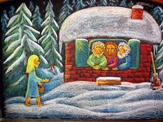 The Three Little Men in the Woods ~ chalkboard drawing