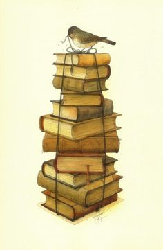 Books and Little Bird by Kestutis Kasparavicius.