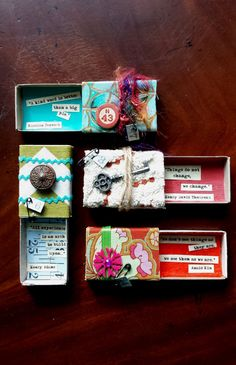 Altered Matchboxes with Quotes. Mixed media. Set 4 Quote Boxes. Party Favors