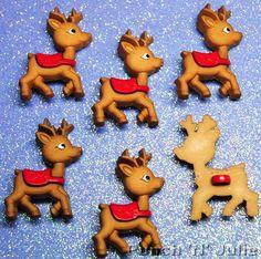 BABY REINDEER - Rudolph Santa Sleigh Christmas Eve Dress It Up Craft Buttons