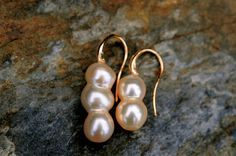 unique golden champagne twin-pearl and tri-pearl earrings, beautiful high luster, asymmetrical earrings by FreshwaterCreation on Etsy