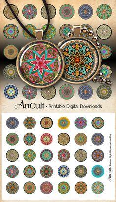 30 mm para imprimir imágenes digitales de marroquí círculos adornados para colgantes redondos, bandejas luneta, vidrio montajes de cabujón, camafeo ajustes, arte culto